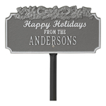 Happy Holidays Yard Sign with Candy Canes on Top with One Line of Text, Finished Pewter & Silver
