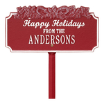 Happy Holidays Yard Sign with Candy Canes on Top with One Line of Text, Finished Red & White