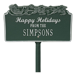 Happy Holidays Yard Sign with Santa's Sleigh on Top with One Line of Text, Finished Green & Silver