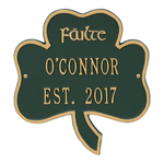 Shamrock Address Plaque Green Gold
