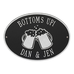 Personalized Beer Mugs Plaque Black & Silver