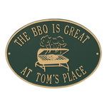 Personalized Grill Plaque Green & Gold