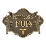 Hops & Barley Beer Pub Plaque Antique Brass