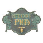 Hops & Barley Beer Pub Plaque Bronze Verdigris