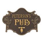 Hops & Barley Beer Pub Plaque Dark Bronze & Gold