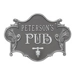 Hops & Barley Beer Pub Plaque Pewter & Silver