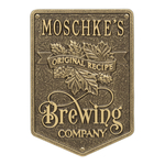 Original Recipe Brewing Company Beer Plaque, Finish, Standard Wall 1-line Antique Brass