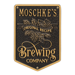 Original Recipe Brewing Company Beer Plaque, Finish, Standard Wall 1-line Black & Gold