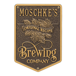 Original Recipe Brewing Company Beer Plaque, Finish, Standard Wall 1-line Dark Bronze & Gold