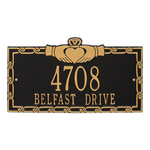 Claddagh Address Plaque Black Gold