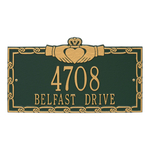 Claddagh Address Plaque Green Gold