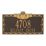Claddagh Address Plaque Bronze Gold