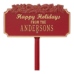 Happy Holidays Yard Sign with Candy Canes on Top with One Line of Text, Finished Red & Gold