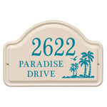 Ceramic Style Address Plaque with Palm Trees
