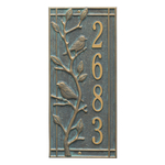 Vertical Number Plaque with Brids on a Branch