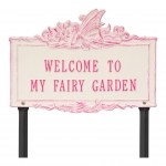 Welcome to My Fairy Lawn Plaque Magenta & Stucco