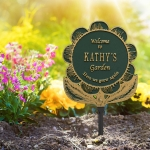 Garden Flower Lawn Plaque Green & Gold