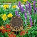 Garden Flower Lawn Plaque Bronze & Gold
