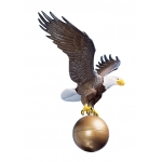 12 in. Medium Flagpole Eagle Natural Painted Colors