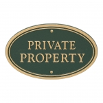 Green Private Property Plaque