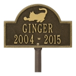 Antique Brass Cat Arch Lawn  Memorial Marker on Stake