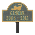 Bronze Verdigris Cat Arch Lawn Memorial Marker on Stake