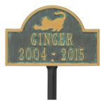 Bronze Verdigris Cat Arch Lawn Memorial Marker on Stake