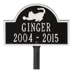 Black & White Cat Arch Lawn Memorial Marker on Stake