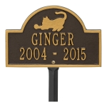 Bronze & Gold Cat Arch Lawn Memorial Marker on a Yard Stake