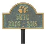 Bronze Verdigris Dog Paw Arch Lawn Memorial Marker on a Yard Stake