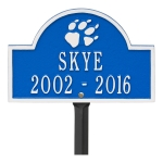 Dazzling Blue & White Dog Paw Arch Lawn Memorial Marker on a Yard Stake