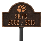 Oil-Rubbed Bronze Dog Paw Arch Lawn Memorial Marker on a Yard Stake