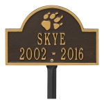 Bronze & Gold Dog Paw Arch Lawn Memorial Marker on a Garden Stake