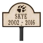 Limestone & Dark Bronze Dog Paw Arch Lawn Memorial Marker on a Yard Stake
