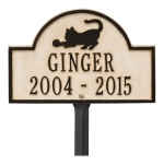 Limestone & Dark Bronze Dog Paw Arch Lawn Memorial Marker
