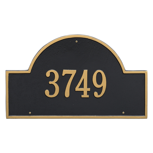 Arch Marker Address Plaque with a Black & Gold Finish, Estate Wall with One Line of Text