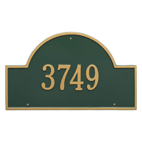 Arch Marker Address Plaque with a Green & Gold Finish, Estate Wall Mount with One Line of Text