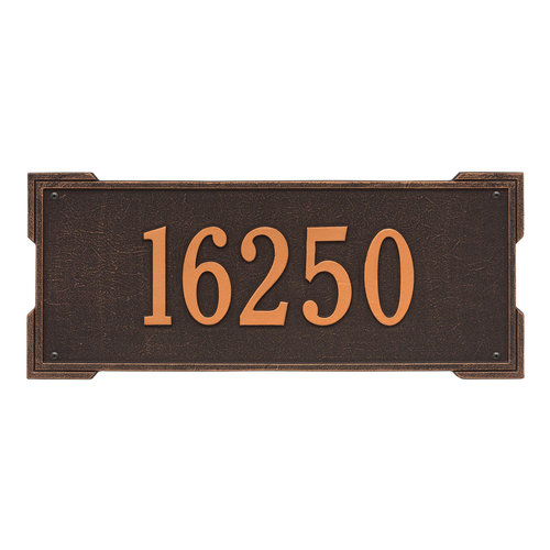Rectangle Shape Address Plaque Named Roanoke with a Oil Rubbed Bronze Finish, Estate Wall with One Line of Text