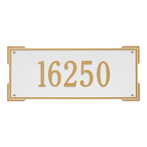 Rectangle Shape Address Plaque Named Roanoke with a White & Gold Finish, Estate Wall with One Line of Text