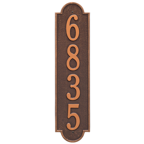 Personalized Richmond Style Vertical Estate Wall Plaque with a Antique Copper Finish