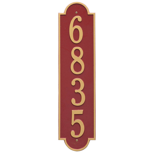 Personalized Richmond Style Vertical Estate Wall Plaque with a Red & Gold Finish