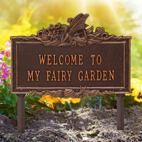 Welcome to My Fairy Lawn Plaque Antique Copper 2