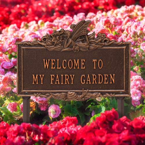 Welcome to My Fairy Lawn Plaque Antique Copper 4