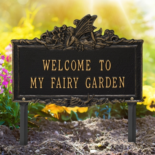 Welcome to My Fairy Lawn Plaque Black & Gold 2
