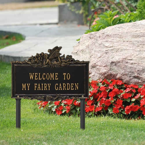 Welcome to My Fairy Lawn Plaque Black & Gold 3