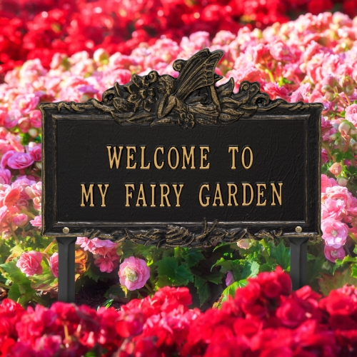 Welcome to My Fairy Lawn Plaque Black & Gold 4
