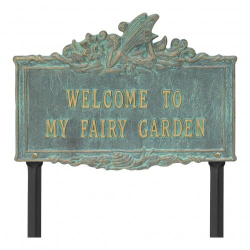 Welcome to My Fairy Lawn Plaque Bronze Verdigris