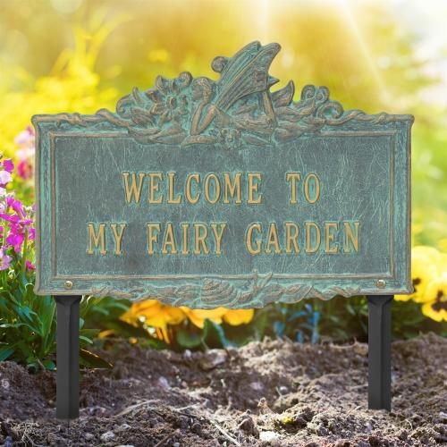 Welcome to My Fairy Lawn Plaque Bronze Verdigris 1