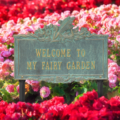 Welcome to My Fairy Lawn Plaque Bronze Verdigris 4