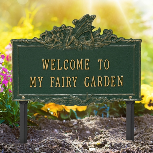 Welcome to My Fairy Lawn Plaque Green & Gold 2